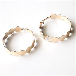 Gold/Silver Glittering Pattern Big Round Fashion Earrings