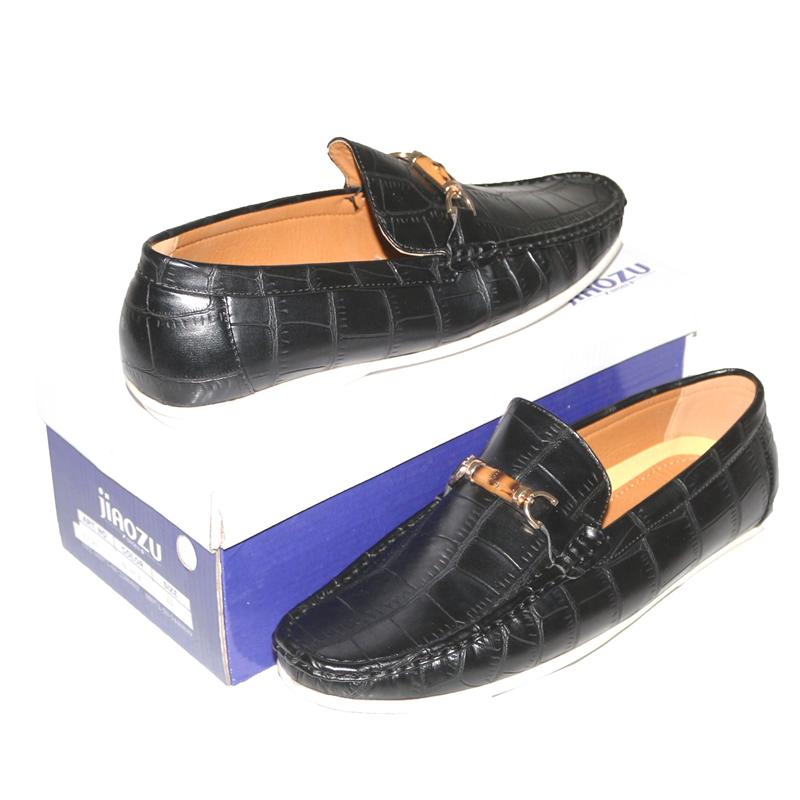 JZ Black Croc Leather Men's Loafers