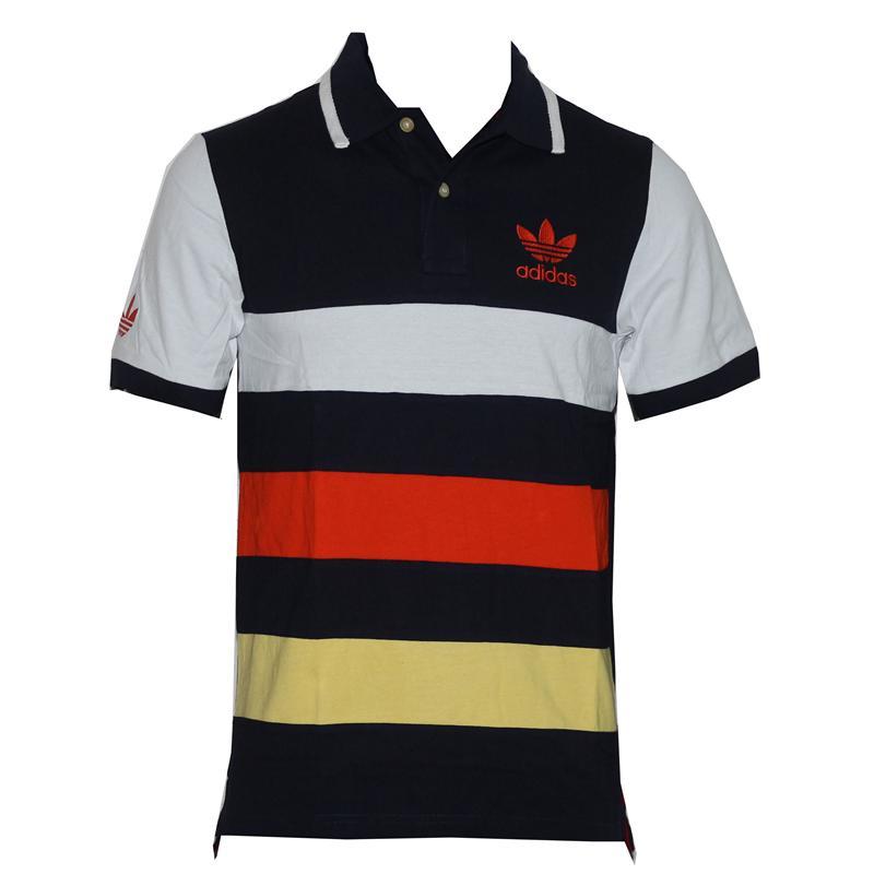 Adidas Navy/White/Orange/Yellow Cotton Men's Polo