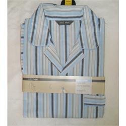 M & S Light Blue Mix Stripe Supersoft Shortie Men's Pyjamas