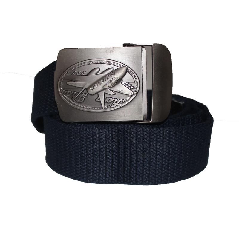 Navy Denim Fabric Aeroplan Buckle Design  Men's Belt
