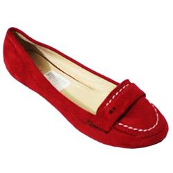QQ Fish Red Suede Ladies Flat Shoe wt Tiny Hole