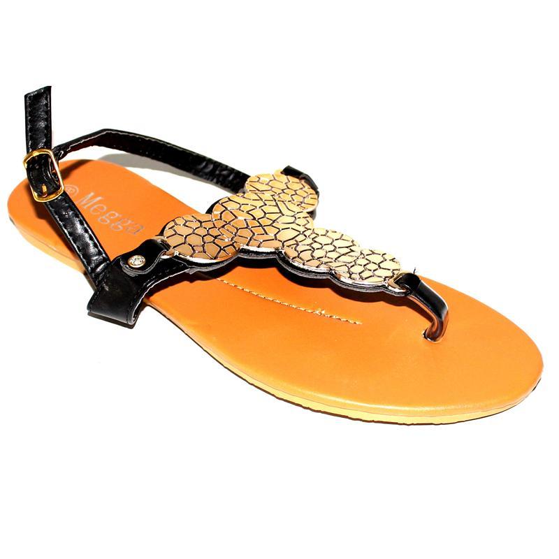 Megga Gold/Black Leather Ladies Sandals