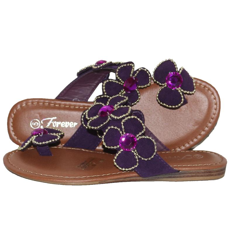 Forever Purple/Gold Suede Ladies Slippers