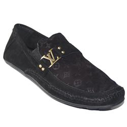 Louis Vuitton Black  Suede Men's Loafers wt Logo Band
