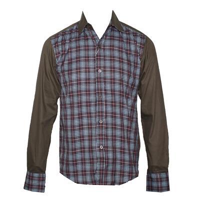 Jack-Jones Blue/Red Check Green Collar L/S Men's Shirt