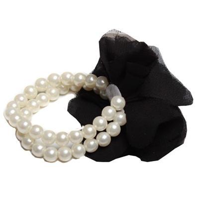 Cream Bead Bracelet Wt Black Floral Design