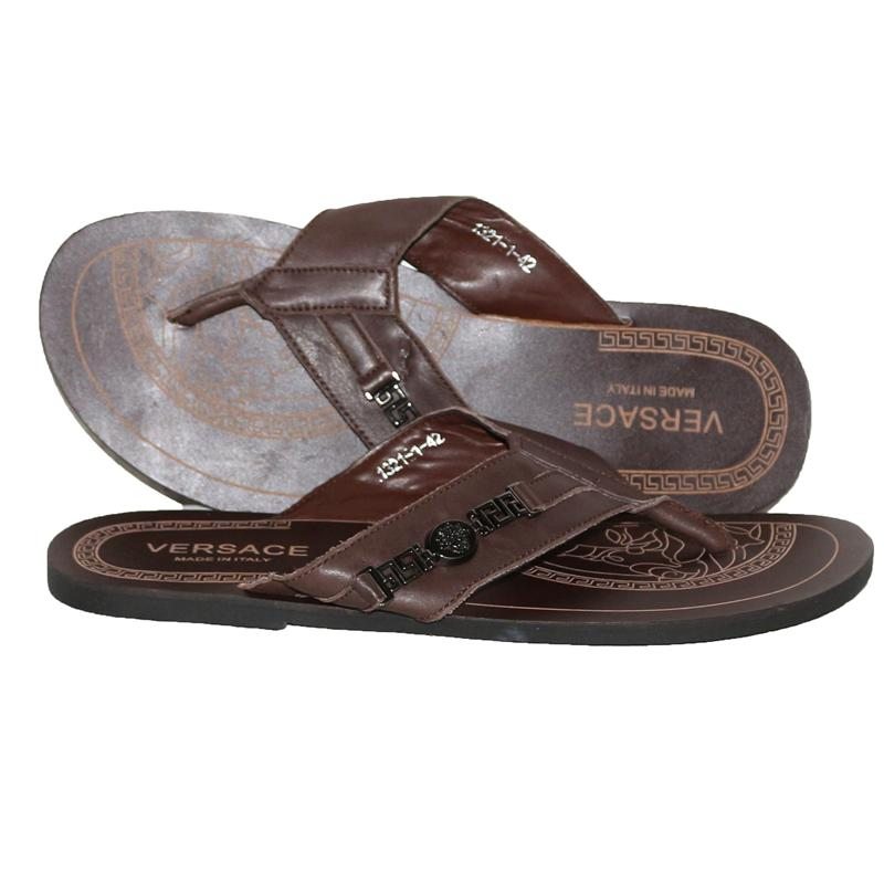 Versace Brown Leather Men's Slippers