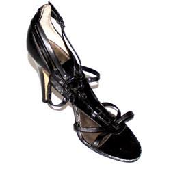 Audrey Brooke Black High Heel Sandal wt Peeled Edge