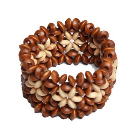 Juelz Brown/Cream Wooden Bracelets