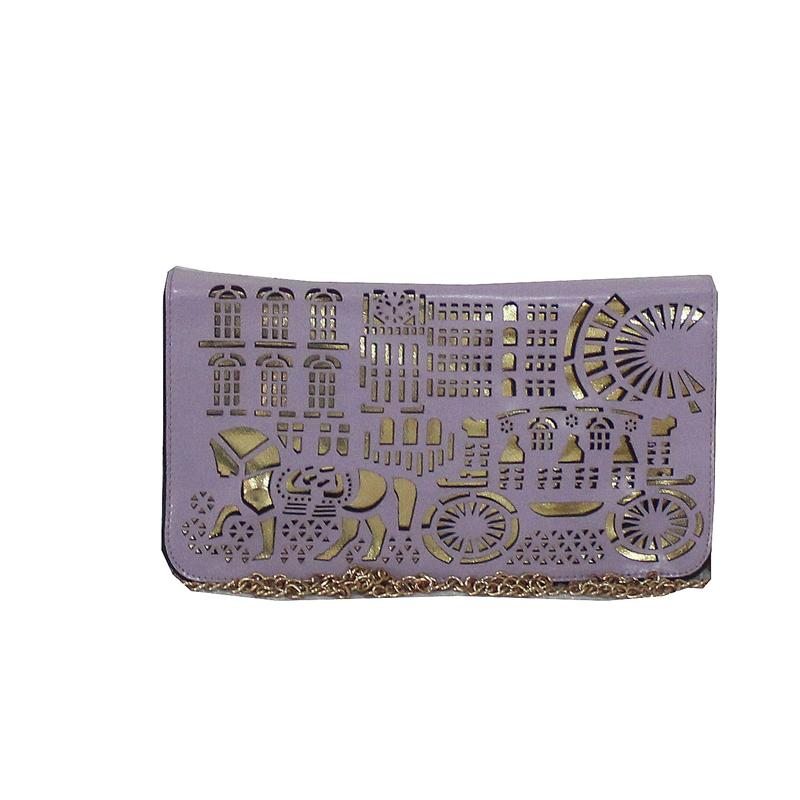 Rikes Places Purple/Gold Leather Perforated Design Ladies Purse