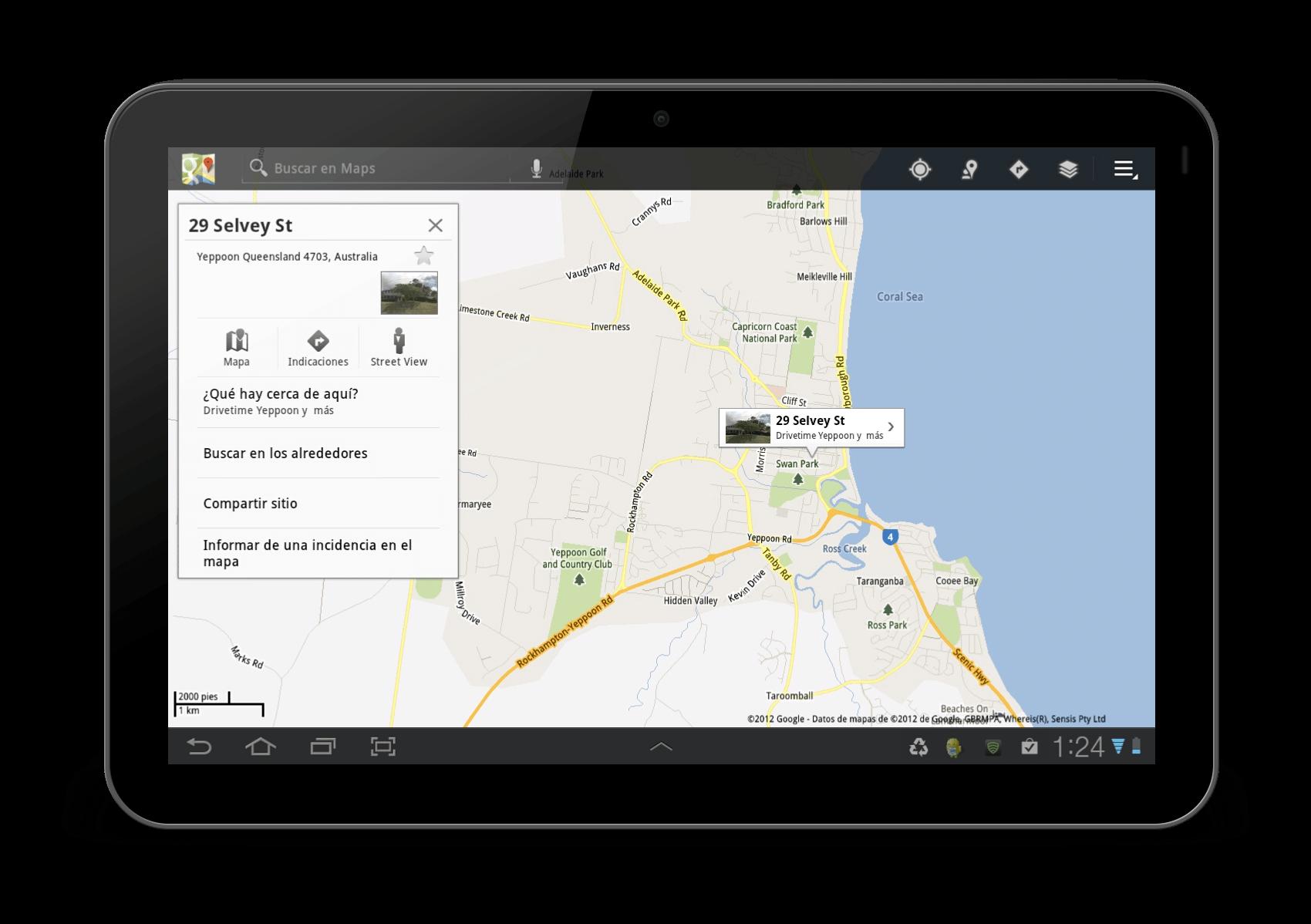 Pantalla de ayuda de Google Map para acceder a StreetView