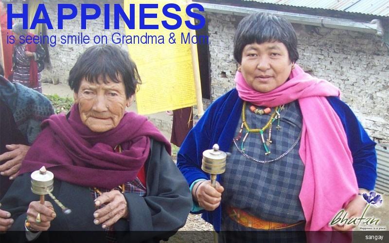 Happiness is seeing smile on Grandma & Mom.