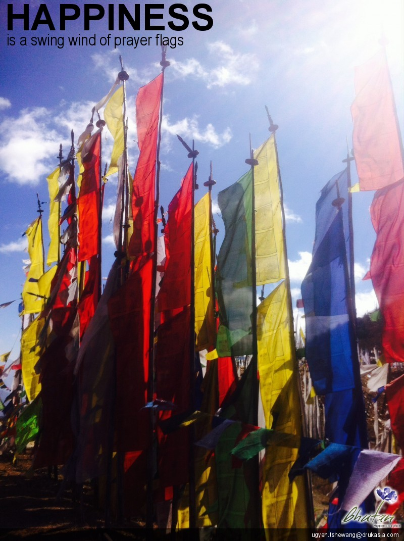 Happiness is a swing wind of prayer flags