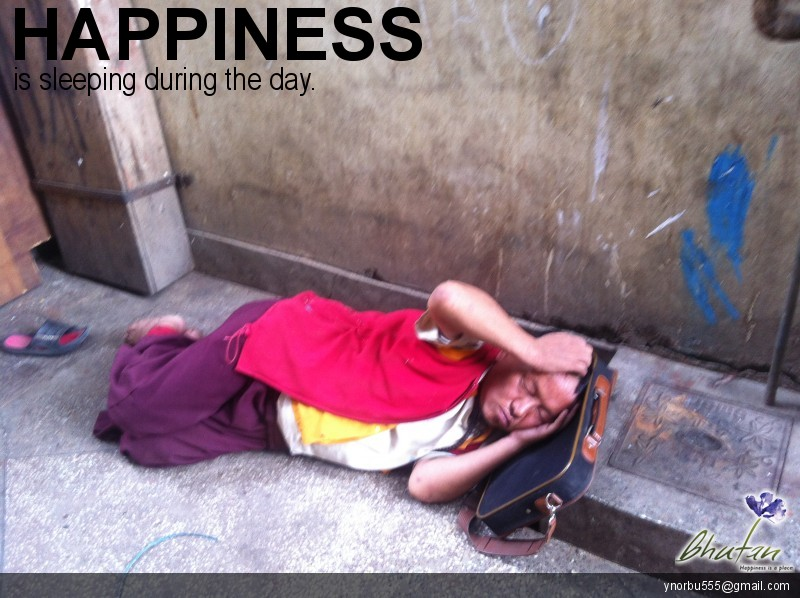 Happiness is sleeping during the day.