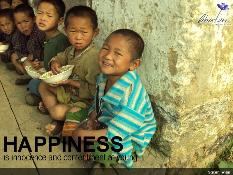 Happiness is innocence and contentment at young.