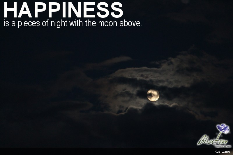 Happiness is a pieces of night with the moon above.