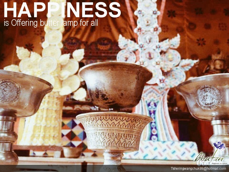 Happiness is Offering butter lamp for all