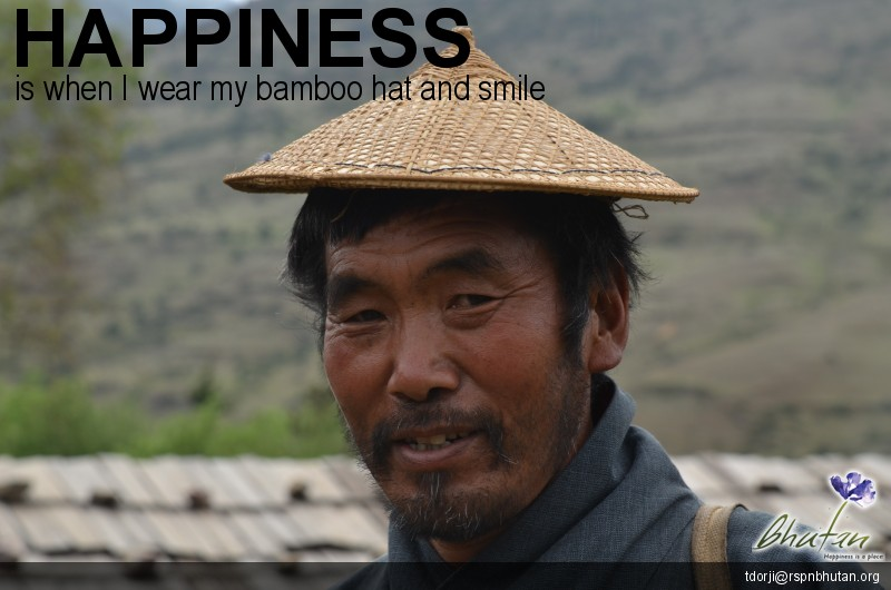 Happiness is when I wear my bamboo hat and smile