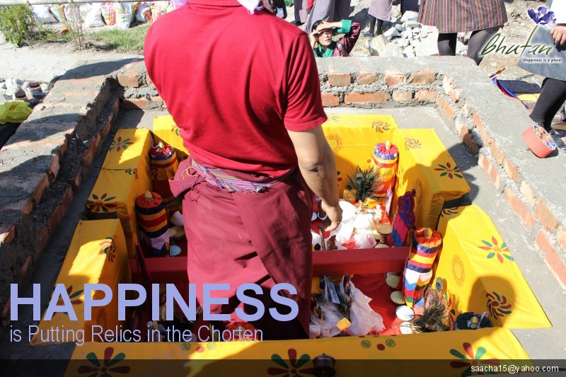 Happiness is Putting Relics in the Chorten