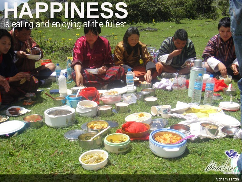 Happiness is eating and enjoying at the fullest.
