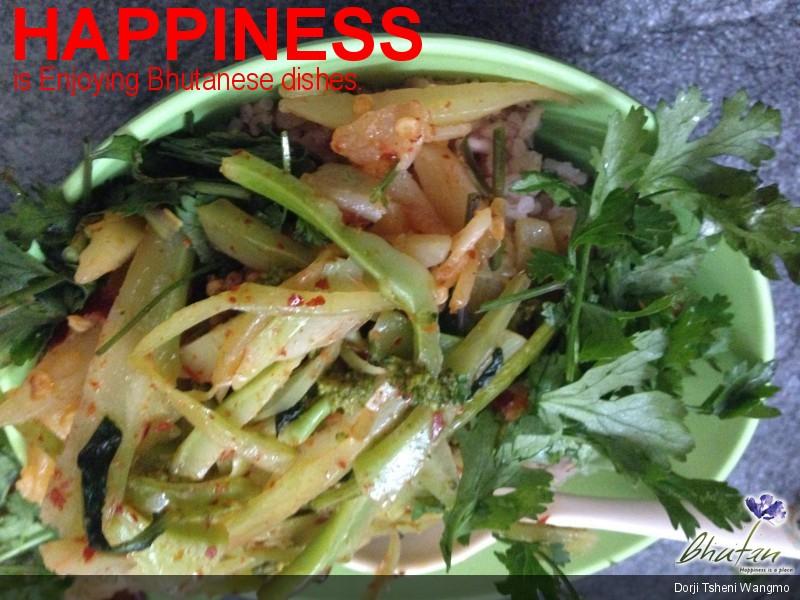 Happiness is Enjoying Bhutanese dishes.