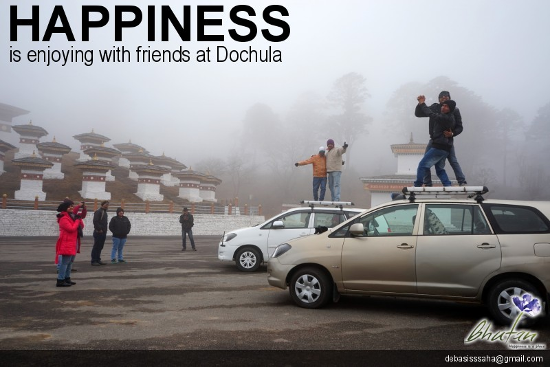 Happiness is enjoying with friends at Dochula