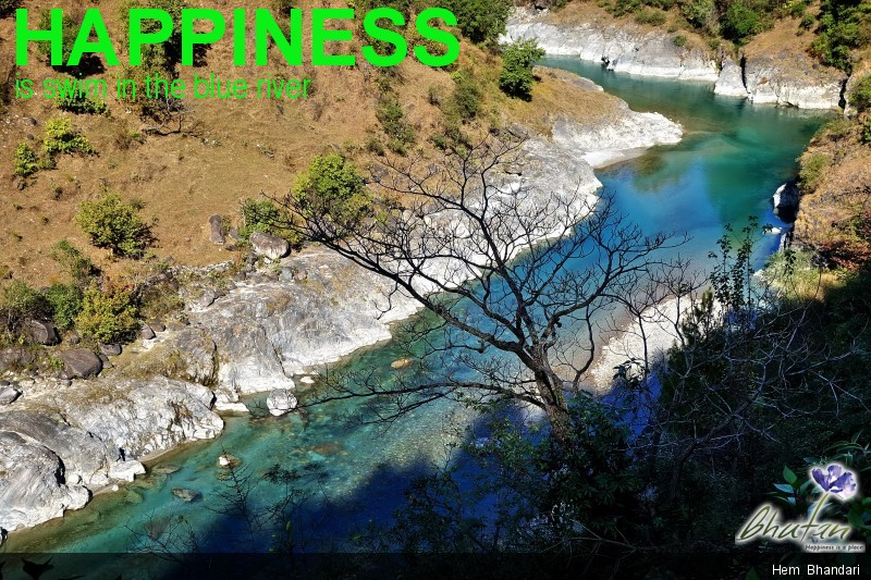 Happiness is swim in the blue river