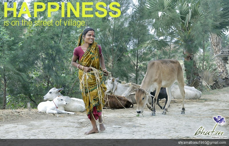 Happiness is on the street of village.