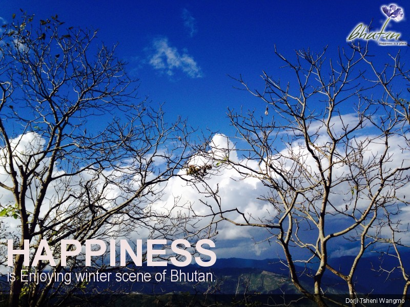 Happiness is Enjoying winter scene of Bhutan.
