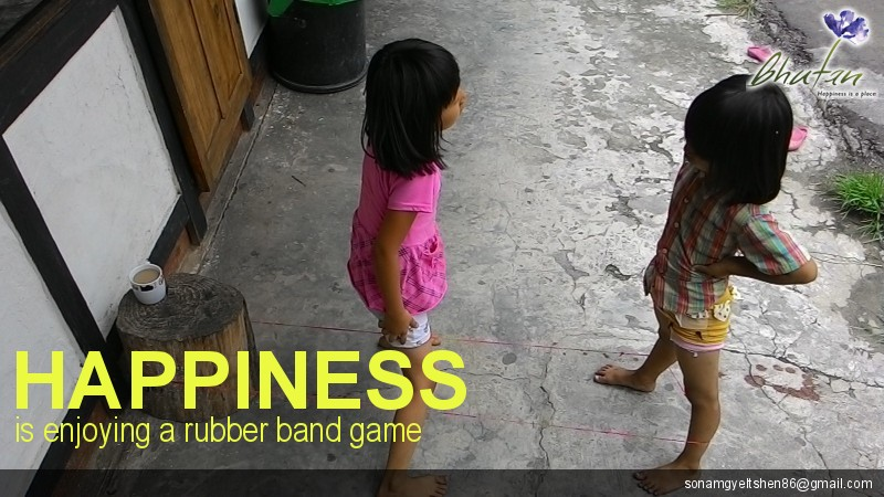 Happiness is enjoying a rubber band game