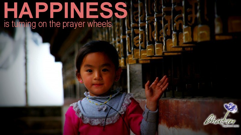 Happiness is turning on the prayer wheels