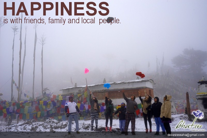 Happiness is with friends, family and local  people.