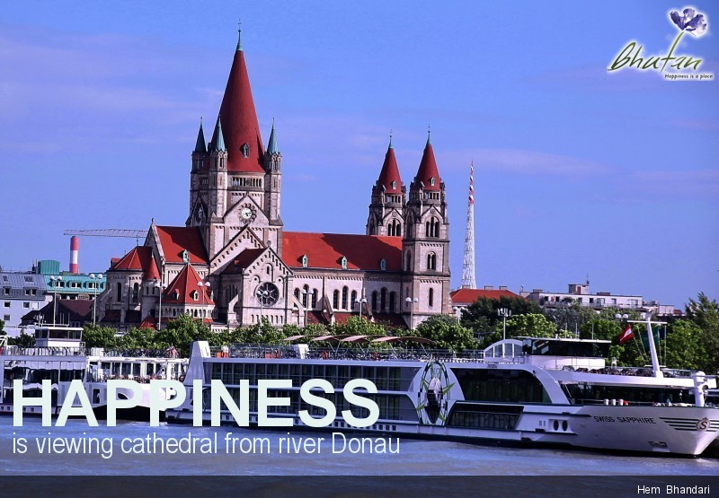 Happiness is viewing cathedral from river Donau