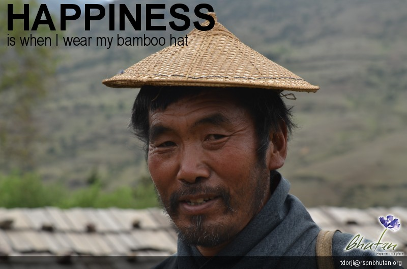 Happiness is when I wear my bamboo hat