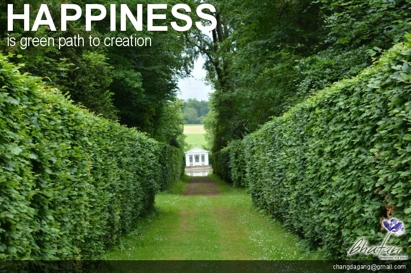 Happiness is green path to creation