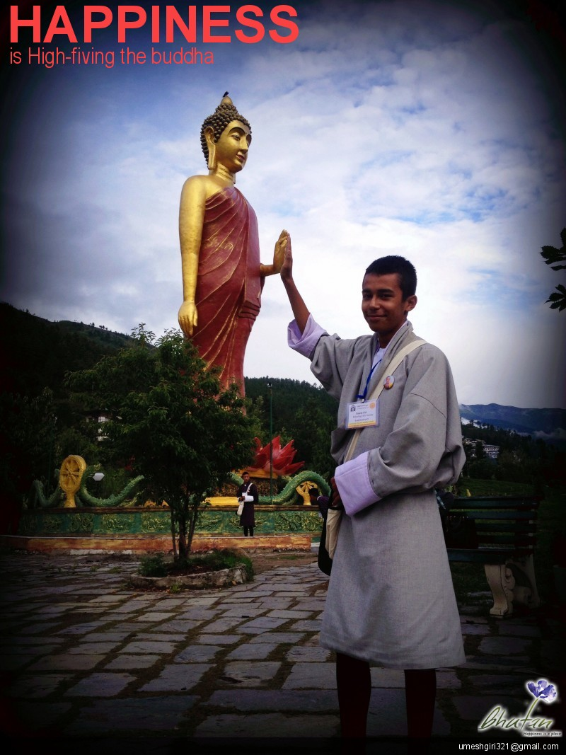 Happiness is High-fiving the buddha
