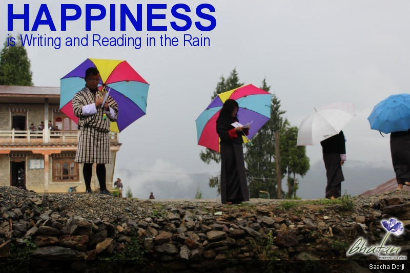 Happiness is Writing and Reading in the Rain