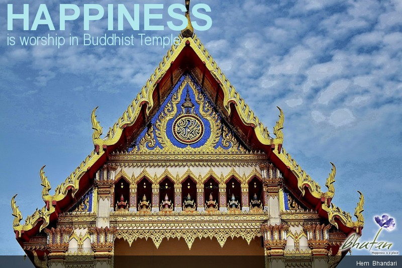 Happiness is worship in Buddhist Temple