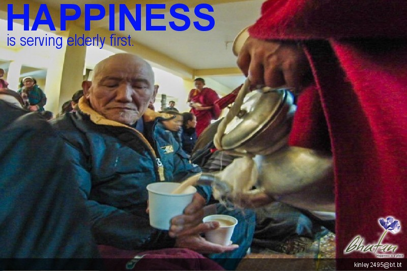 Happiness is serving elderly first.