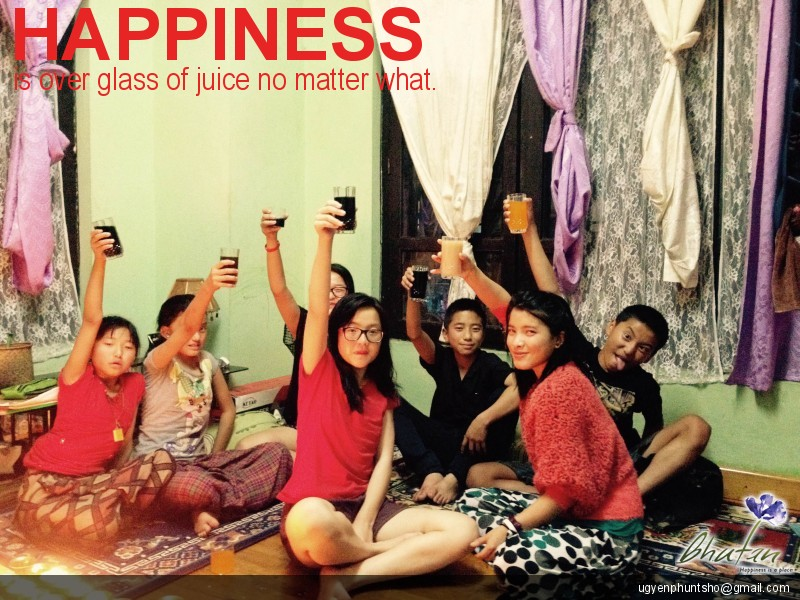 Happiness is over glass of juice no matter what.
