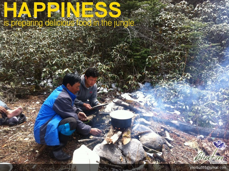 Happiness is preparing delicious food in the jungle.