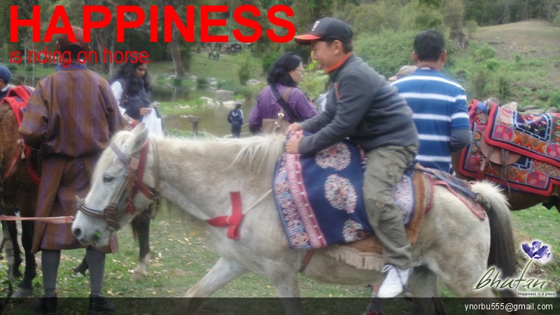 Happiness is riding on horse.