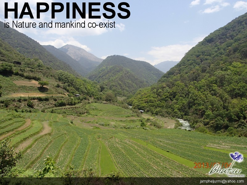 Happiness is Nature and mankind co-exist