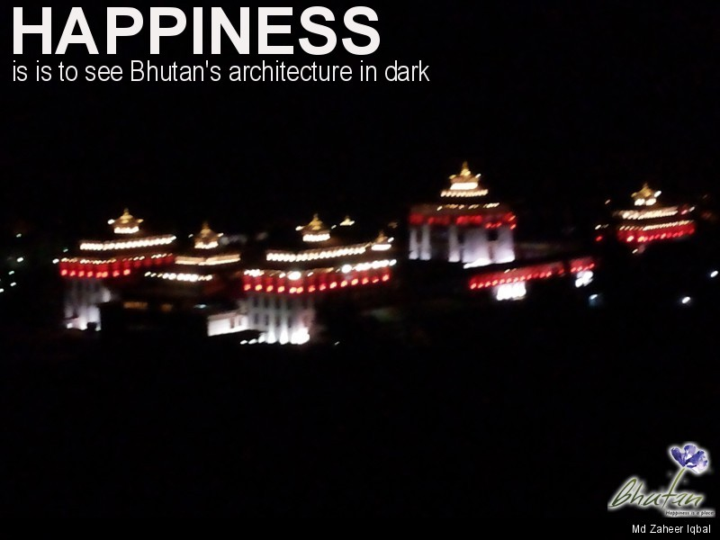 Happiness is is to see Bhutan's architecture in dark