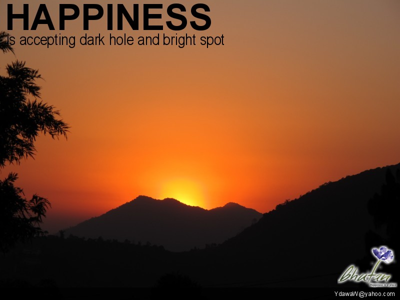 Happiness is accepting dark hole and bright spot