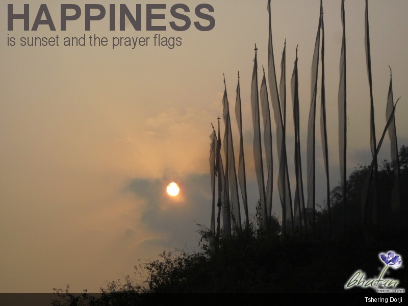 Happiness is sunset and the prayer flags