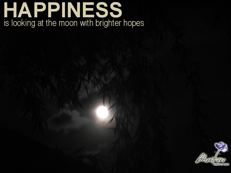 Happiness is looking at the moon with brighter hopes