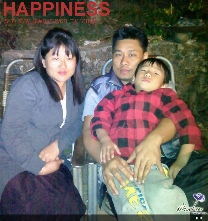 Happiness is to stay always with my family