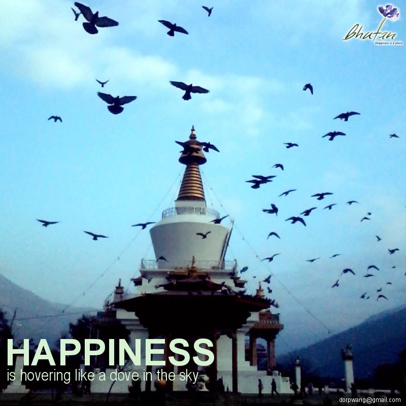 Happiness is hovering like a dove in the sky